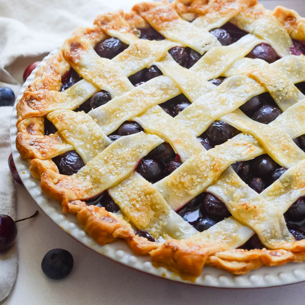 Freshly baked Summer Cherry Berry Pie.