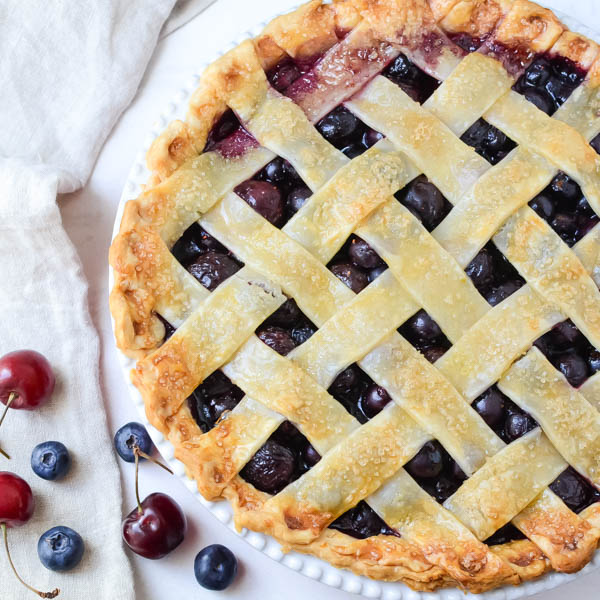 Summer Cherry Berry Pie with fresh blueberries and cherries.