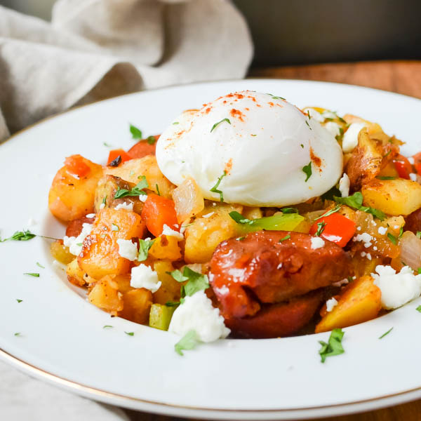 Closeup of Spicy Chorizo Hash.