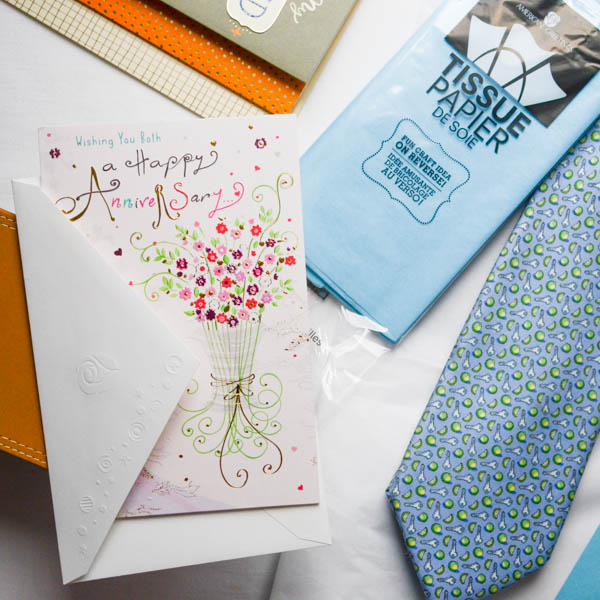 other cards and tissue paper.