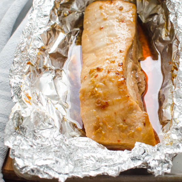 Braise Pork Belly in foil.