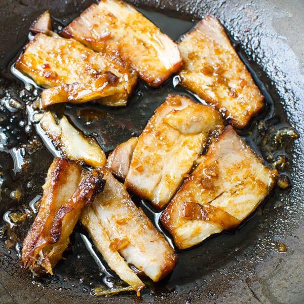 Sautéing Pork Belly.
