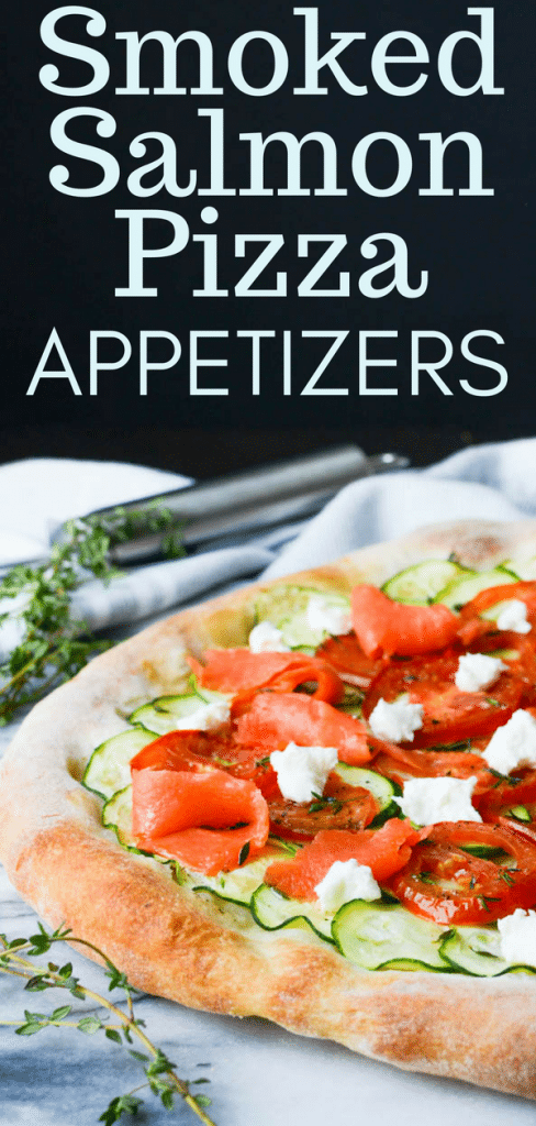 Fresh Smoked Salmon Chèvre Pizza is a great pizza appetizer with sparkling rosé. Try my smoked salmon pizza recipe or add your favorite flatbread toppings. #smokedsalmon #chèvre #goatcheese #pizza #flatbread #appetizers #starters #zucchini #tomatoes #winepairing #sparklingwine #flatbreadtoppings #pizzaappetizers #smokedsalmonpizza #pizzanight #goatcheesepizza #zucchinipizza #tomatopizza #pizzapie #homemadepizza