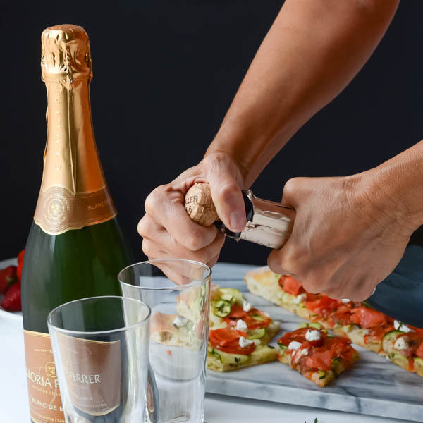 Popping the cork on Gloria Ferrer sparkling wine.