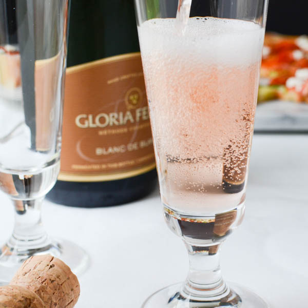 Pouring Gloria Ferrer sparkling wine.