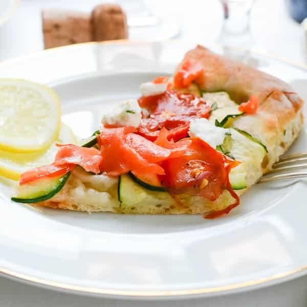 Closeup of Fresh Smoked Salmon Chevre Pizza