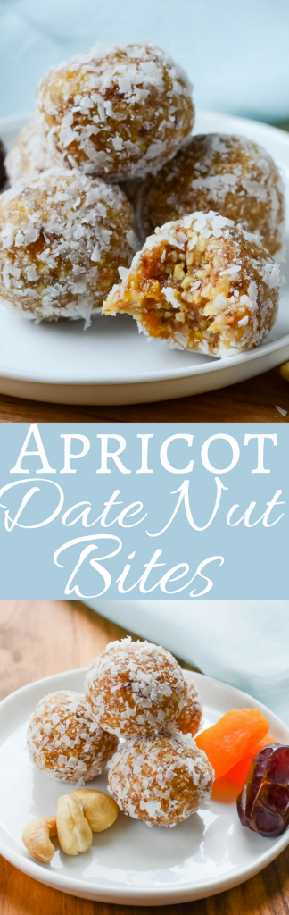 An easy, healthy snack recipe that only takes a few minutes to make. Apricot Date Nut Bites are all natural with no processed sugar or fake ingredients.