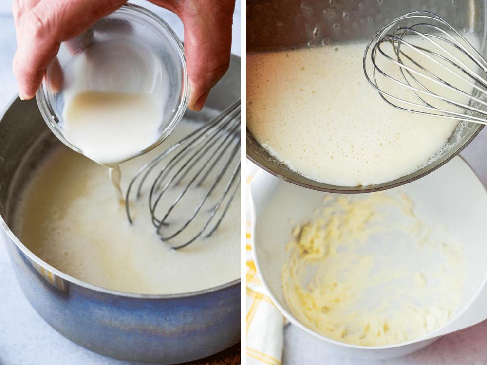 adding slurry to cream, and cream mixture to whipped cream cheese.