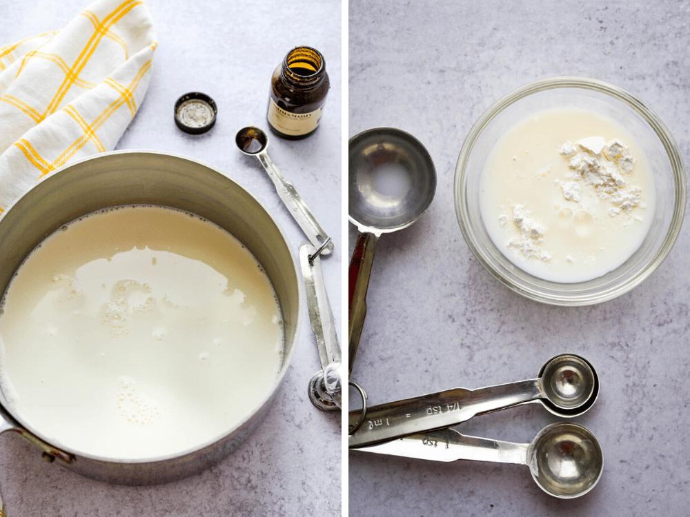 how to make banana ice cream with a cornstarch slurry.