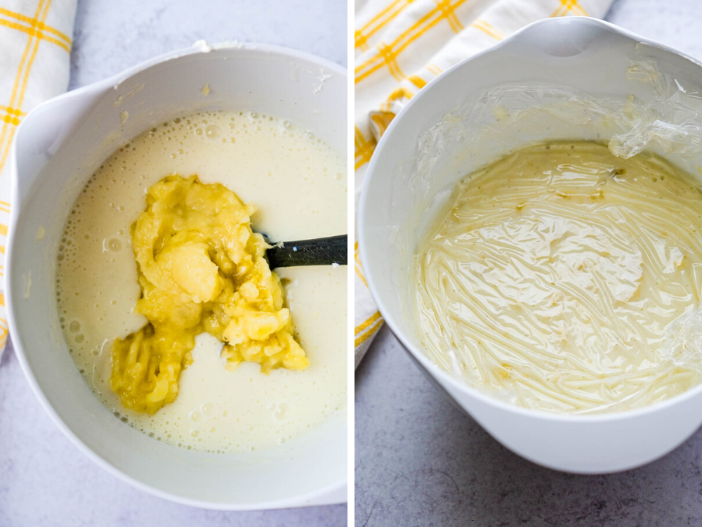 adding mashed bananas to the custard and chilling.
