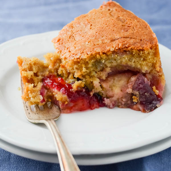Brown Sugar Cornmeal Plum Cake