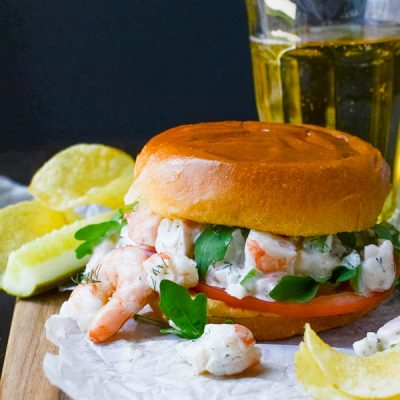 Easy Poached Shrimp Salad Sandwich