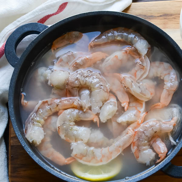 shrimp in a pot.