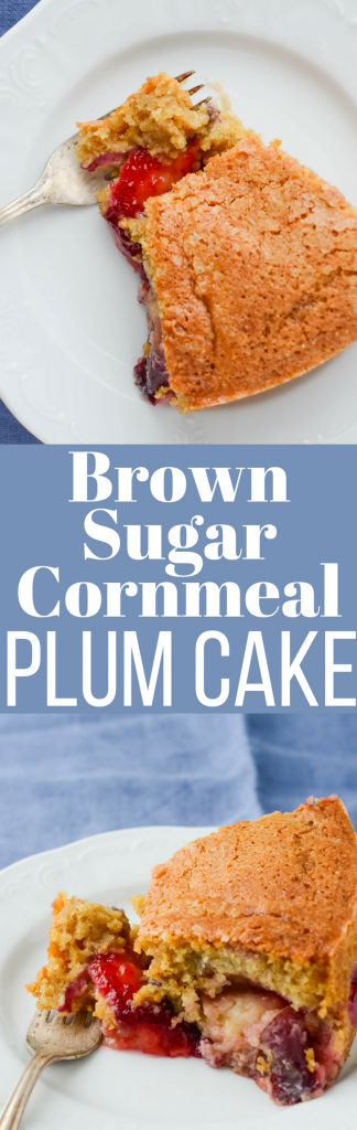 This easy plum cake recipe works well as a coffeecake or dessert! Bake tart plums into a sweet brown sugar and cornmeal batter for an easy, delicious treat!