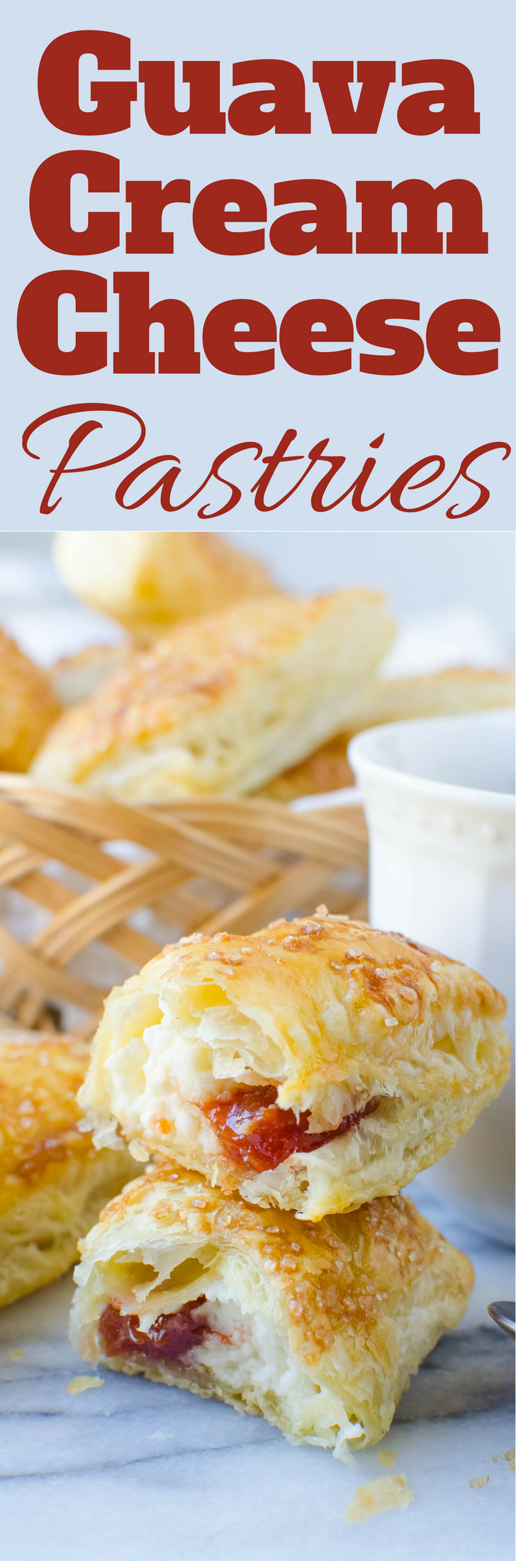 With only 5-ingredients, this easy recipe for Guava Cream Cheese Pastries is the best breakfast or brunch treat.  Great for snacking too!