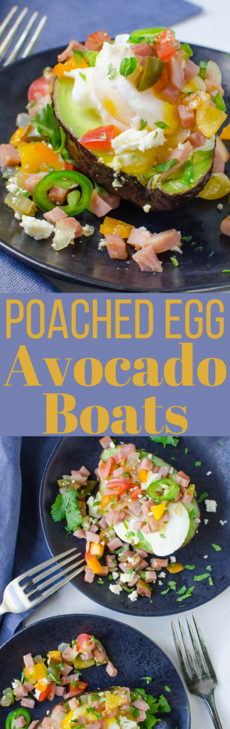 This healthy high protein, low-carb breakfast will fuel your day! Poached Egg Avocado Boats are easy to make and always delicious! #eggs #breakfast #eggboats #avocadoboats #avocadostuffedeggs #stuffedavocados #ham #brunch #poachedeggs #cheese #tomatoes #jalapenos #peppers #healthybreakfast #lowcarbbreakfast #highproteinbreakfast #healthybreakfastrecipes