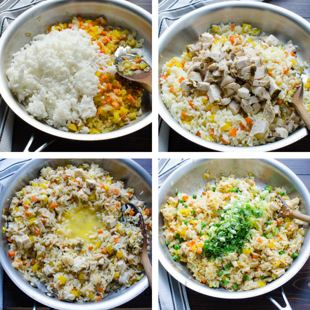 stages of making fried rice