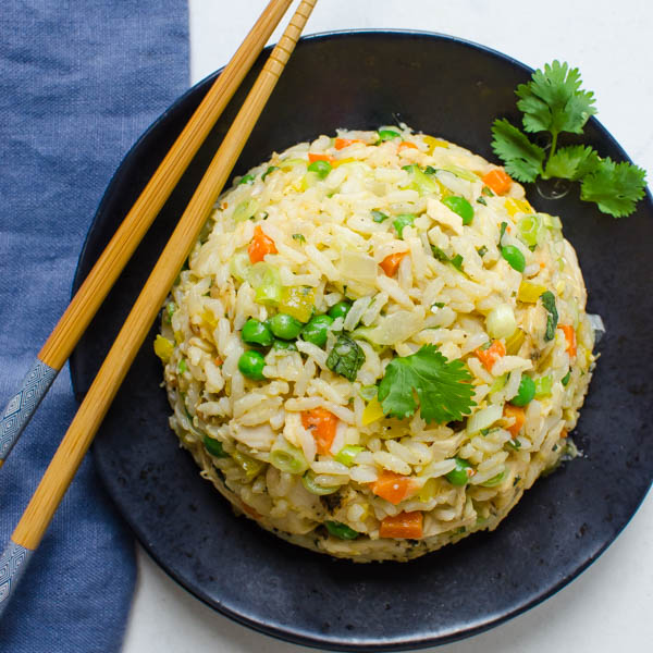 Easy Chicken Fried Rice with chopsticks