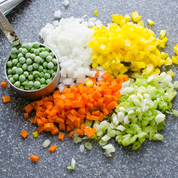 chopped vegetables and peas