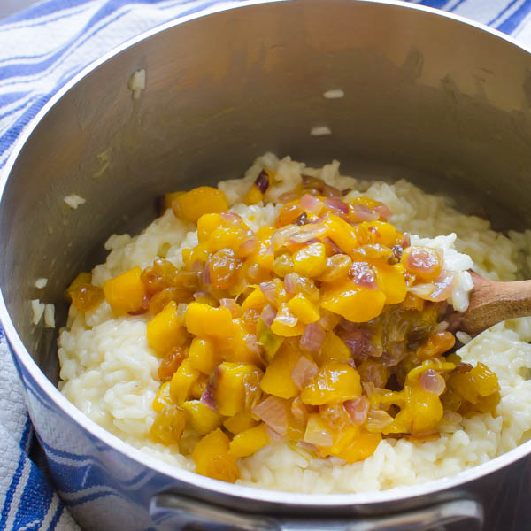 mango and rice in a pot