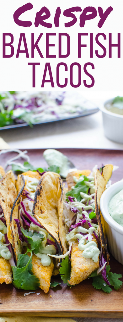 This is the BEST healthy recipe for Crispy Baked Fish Tacos! Tilapia coated with a cornmeal crust and served with cilantro garlic lime crema! Delicious!