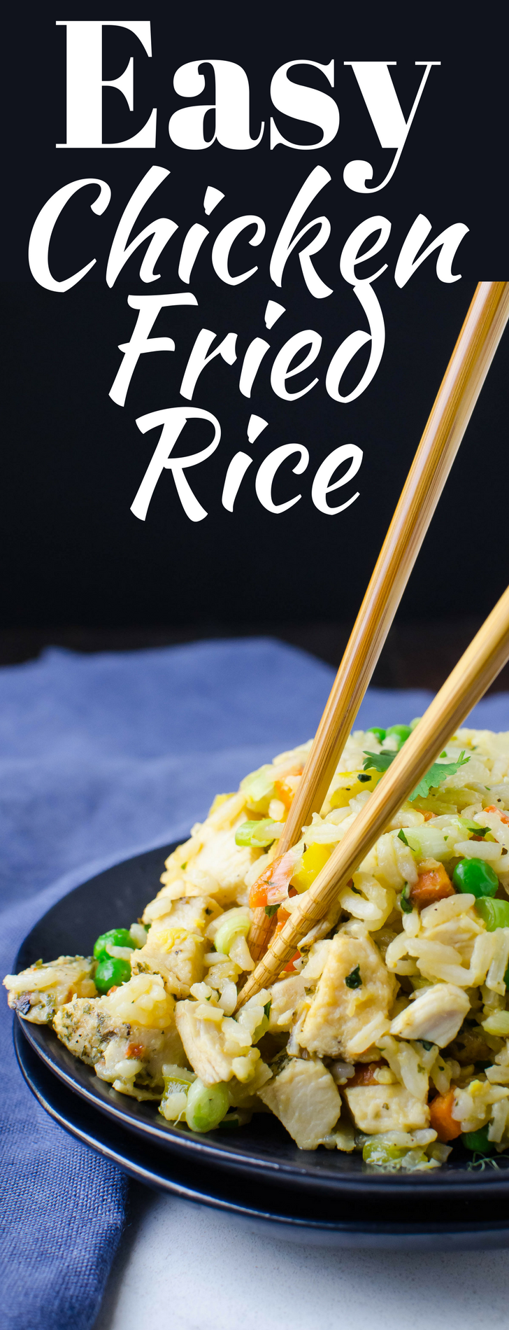 This easy fried rice recipe uses up your leftovers in a quick, tasty 20-minute one-pan dinner!  Easy Chicken Fried Rice is a weeknight favorite!