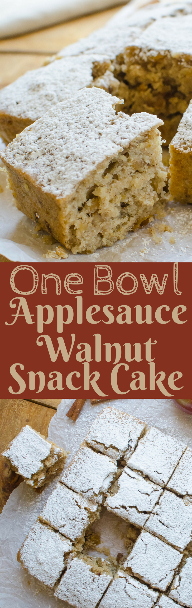 BEST one-bowl snack cake recipe ever! This homestyle applesauce cake is my grandmother's recipe!