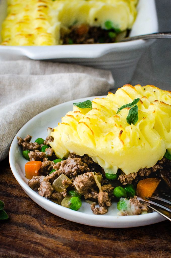 A serving of ground beef casserole with potatoes.