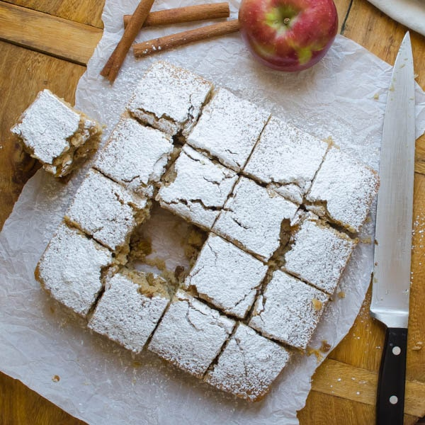 One-Bowl Applesauce Walnut Snack Cake cut into squares