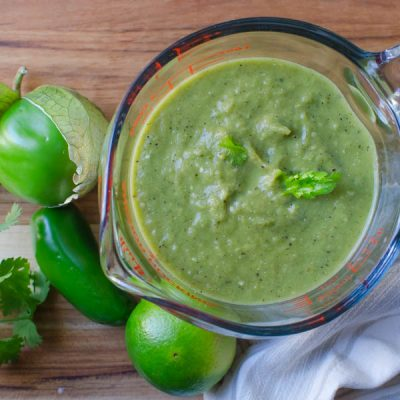 Charred Pepper and Tomatillo Enchilada Sauce
