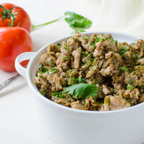Hatch Chile Chopped Pork with tomatoes