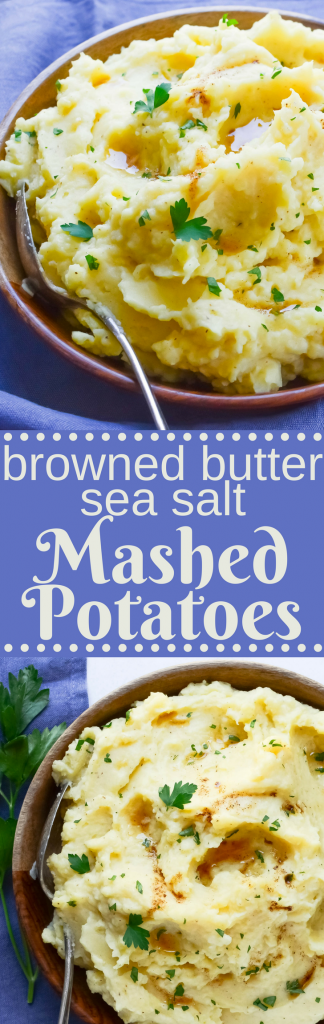 Looking for the ultimate mashed potato recipe? It's here. Browned Butter Sea Salt Mashed Potatoes are rich & creamy. Plus, get the tool for perfect spuds.