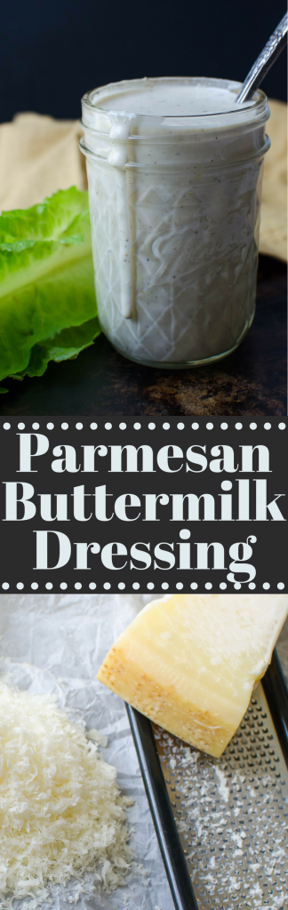 It's easier than you think to make homemade salad dressing. Parmesan Buttermilk Dressing has garlic, black pepper & a touch of lemon for a perfect balance. #ad #theonlyparmesan