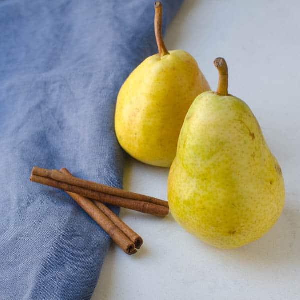 pears and cinnamon sticks for the pear dessert recipe.