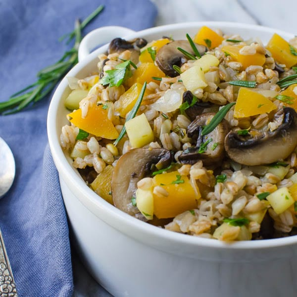 Warm Apple Butternut Farro in a dish