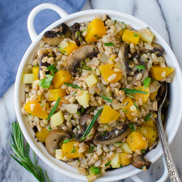 Warm Apple Butternut Farro on a marble board