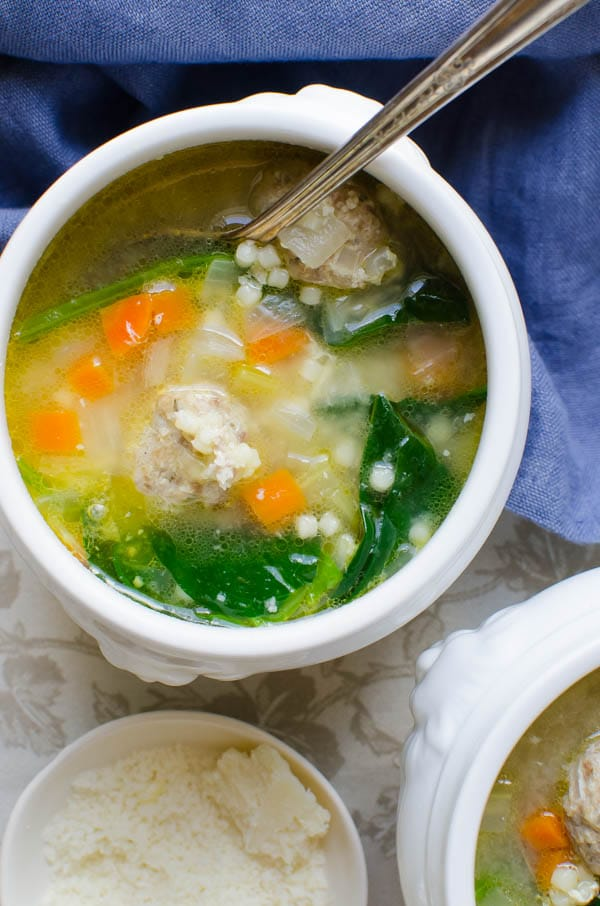 two bowls of Homemade Italian Wedding Soup