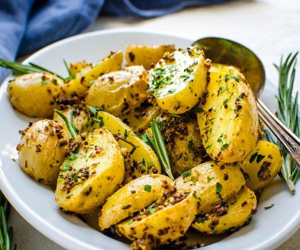 Mustard Garlic Herb Roasted Gold Potatoes