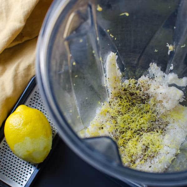 dressing ingredients in a blender