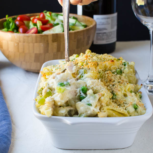Scooping Cheesy Homestyle Tuna Noodle Casserole