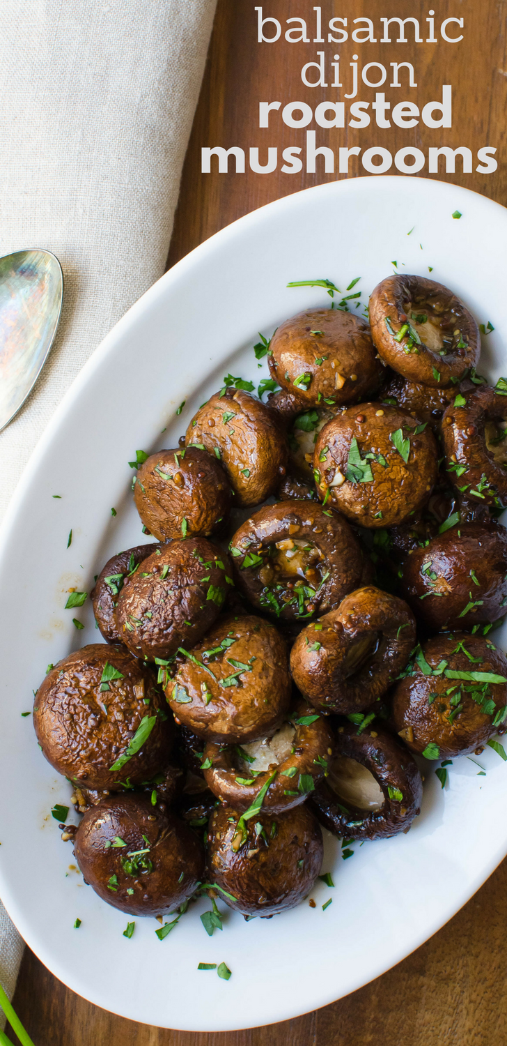 Need a tasty compliment to a steak or roast? This easy recipe for balsamic dijon roasted mushrooms is delicious w/maple syrup & worcestershire sauce. #mushrooms #vegan #vegetarian #sidedish #balsamicvinegar #maplesyrup #dijonmustard #mustard #balsamic #worcestershire
