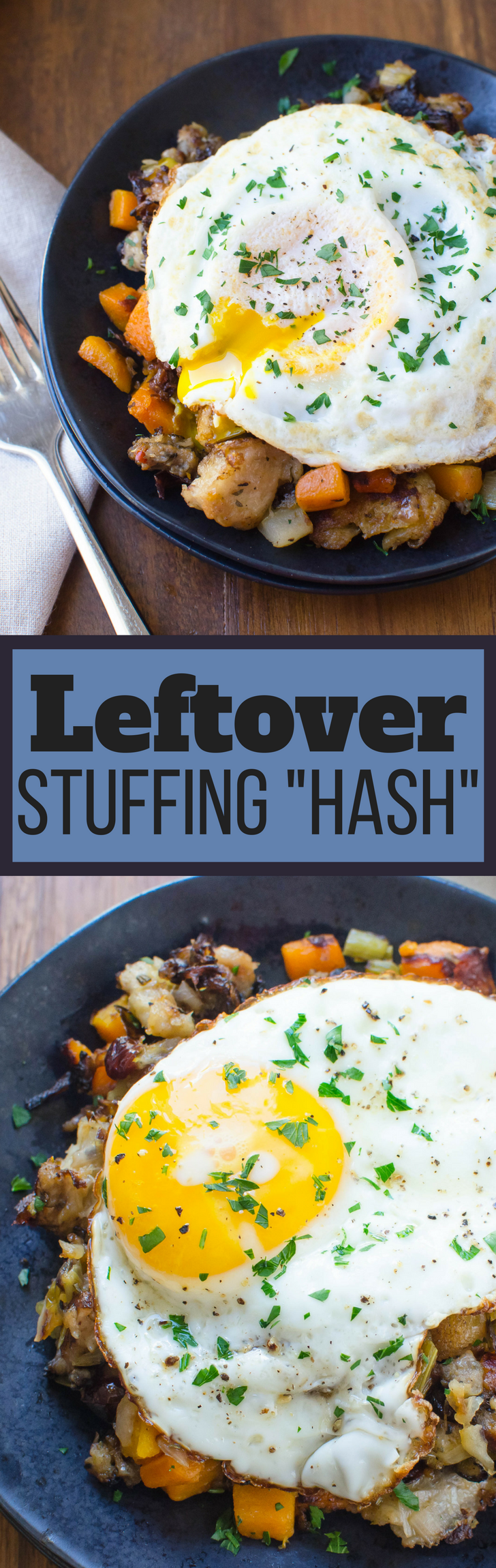 What to do with leftover holiday stuffing? Leftover Stuffing Hash of course! Top w/ an oozy egg for breakfast nirvana! Black Friday breakfast of champions! #hash #leftovers #stuffing #eggs #thanksgivingleftovers #breakfast #brunch #holidays #dressing #friedegg #oozyegg #easybreakfast #easyleftoversrecipe #recipeforleftovers