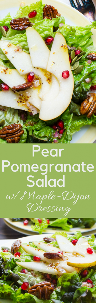 Need a fall or winter salad idea? Pear Pomegranate Salad with Maple Dijon Dressing is a nice starter for holiday meals w/gorgonzola croutons & glazed pecans. #fallsaladrecipe #wintersaladrecipe #saladwithpears #pomegranate, #mapledijondressing #homemadedressing #gorgonzola #bluecheese #cheesecroutons #thanksgivingsalad #christmassalad #pears, #saladwithfruit #homemadedressing