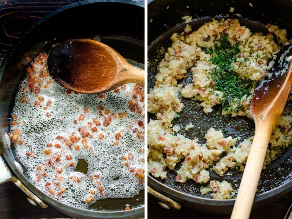 sautéing pancetta and shallot mixture.