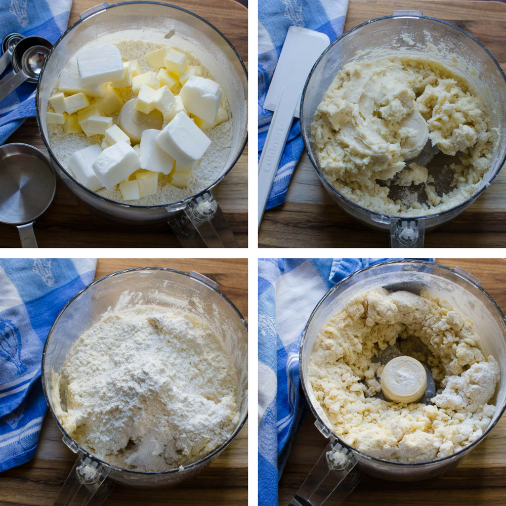 blending pie dough in the food processor