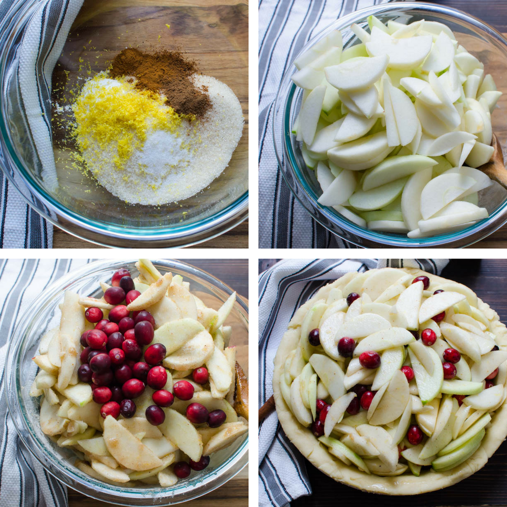 making the filling for the Sweet-Tart Apple Cranberry Pie