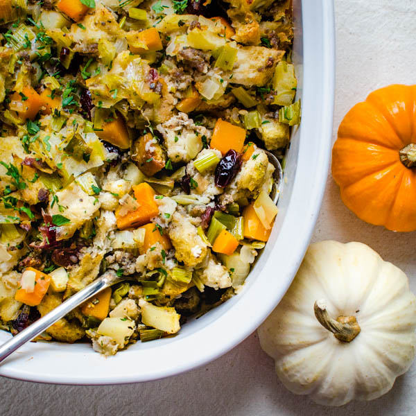Sausage Apple Stuffing with Leeks and Butternut Squash