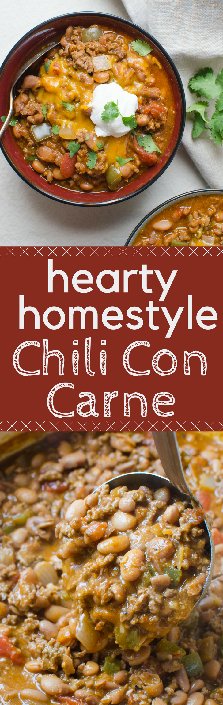 The best Hearty Homestyle Chili Con Carne recipe starts with dried New Mexico or Guajillo chile peppers & chipotles in adobo sauce! Welcome to flavor town. #chili #chiliconcarne #beans #groundbeef #NewMexicochiles #Guajillochiles #chipotle #adobo #pintobeans #chilifromscratch