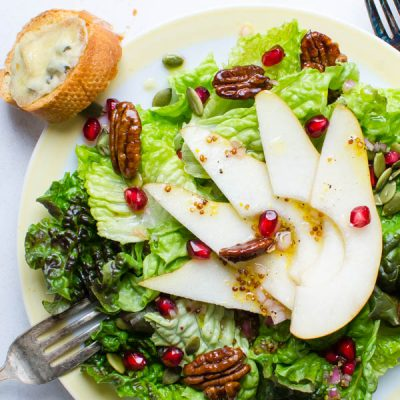Pear Pomegranate Salad with Maple Dijon Dressing