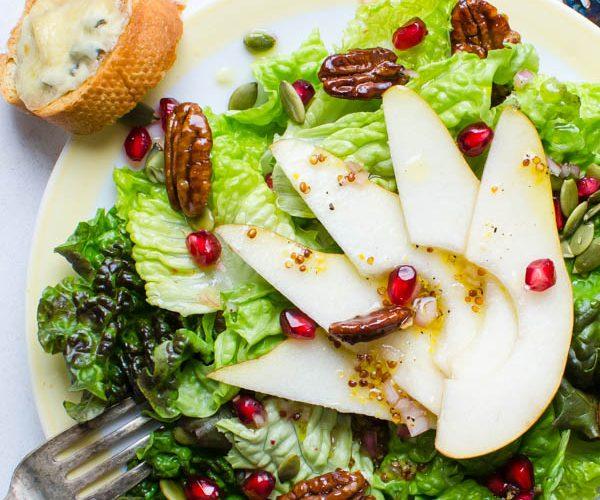 Pear Pomegranate Salad with Maple Dijon Dressing